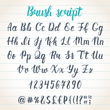 Hand drawn latin calligraphy brush script with numbers and symbols. Calligraphic alphabet. Ilustração