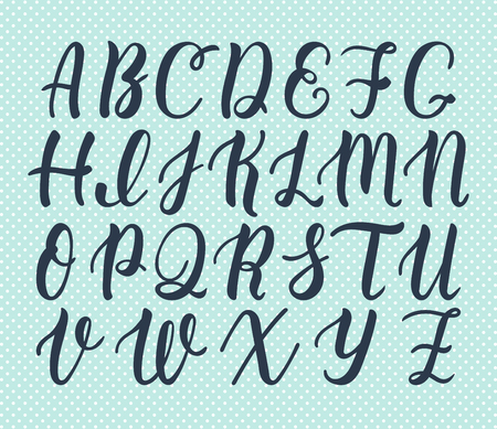 majuscule: Hand drawn latin calligraphy brush script of capital letters. Calligraphic alphabet. Illustration