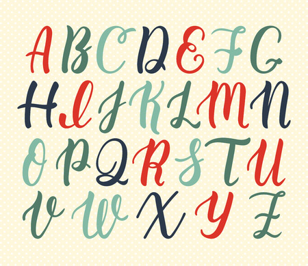 majuscule: Hand drawn latin calligraphy brush script of capital letters in vintage colors. Calligraphic alphabet. Illustration