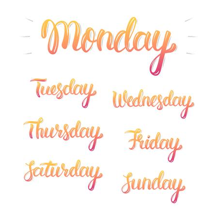 lettrage à la main Trendy ensemble de jours de la semaine, les graphiques de la mode, l'art imprimé. Calligraphique coloré ensemble isolé. Vector illustration