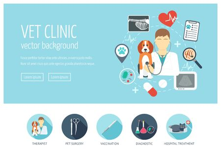 Vet clinic web design concept for website and landing page. Flat design. Vector illustration