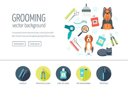 grooming: Grooming web design concept for website and landing page. Web banner. Flat design. Vector illustration