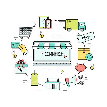 Farbe E-Commerce-Web-Design-Konzept. Line-Icons für Website, Zielseite, Infografiken. Moderne lineare Vektor-Konzept. Flaches Design. Vektor-Illustration