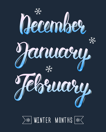 months: Trendy hand lettering set of winter months. Pied brush handwritten names of months. Fashion graphics, art print. Calligraphic colored set. Vector illustration