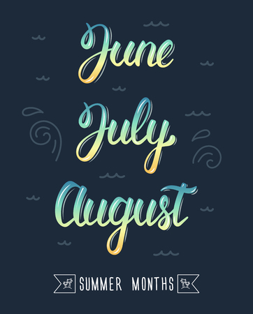 pied: Trendy hand lettering set of summer months. Pied brush handwritten names of months. Fashion graphics, art print. Calligraphic colored set. Vector illustration