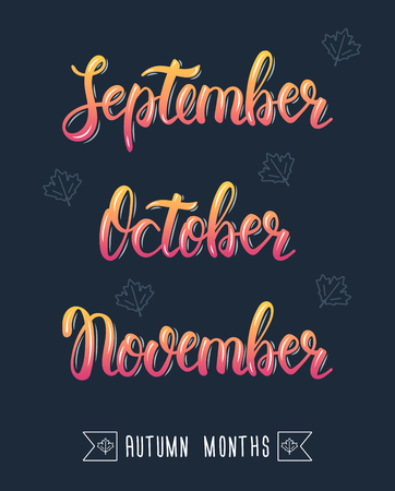 pied: Trendy hand lettering set of autumn months. Pied brush handwritten names of months. Fashion graphics, art print. Calligraphic colored set. Vector illustration