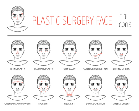 brows: Set of line plastic surgery face icons. Flat design. Vector illustration