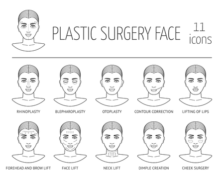 anti age: Set of isolated line plastic surgery face icons. Flat design. Vector illustration