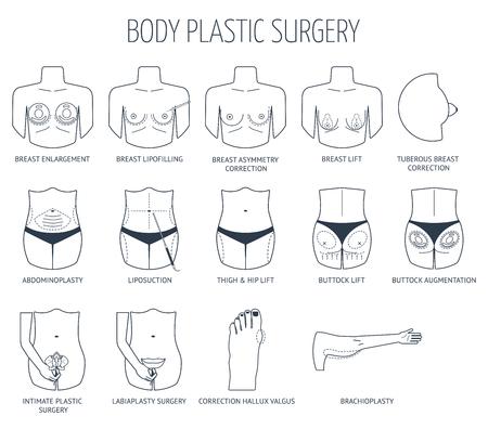 Set of line body plastic surgery icons. Flat design. Vector illustration 矢量图片