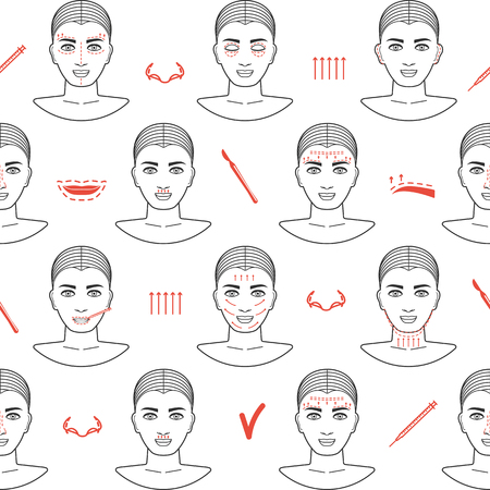 anti age: Seamless pattern of face plastic surgery with line icons. Flat design. Vector illustration