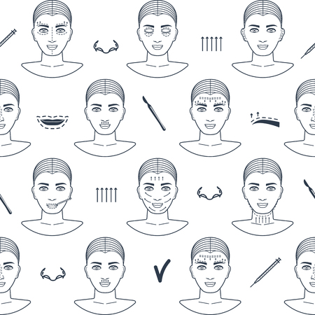 wrinkle: Seamless pattern of plastic surgery face with line icons. Flat design. Vector illustration