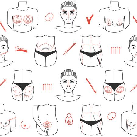 Naadloos patroon van plastische chirurgie met lijnpictogrammen. Plat ontwerp. Vector illustratie