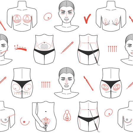 Seamless pattern of plastic surgery with line icons. Flat design. Vector illustration
