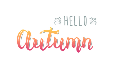 Hello Autumn. Trendy handwriting quote, fashion graphics, art print for posters and greeting cards design. Calligraphic isolated quote in black ink. Illustration