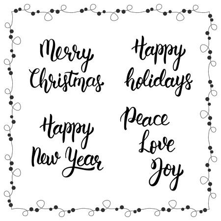 Frasi di calligrafia di Natale. Buon Natale. Felice anno nuovo. Buone vacanze. Peace, Love, Joy. Scritto a mano lettering pennello moderno. Trendy citazione mano lettering, grafica moda, stampe d'arte per manifesti e biglietti di auguri di progettazione. quo isolato calligrafico