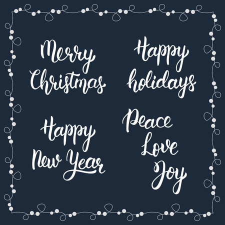 quo: Christmas calligraphy phrases. Merry christmas. Happy new year. Happy holidays. Peace, Love, Joy. Handwritten modern brush lettering. Trendy hand lettering quote, fashion graphics, art print for posters and greeting cards design. Calligraphic isolated quo