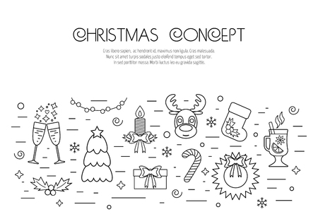 attributes: Christmas isolated concept with traditional attributes. Flat design from linear icons. Vector illustration