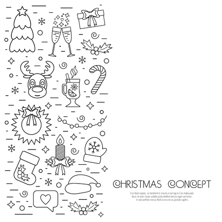 attributes: Christmas isolated concept, flyer, card with traditional attributes in line style. Flat design from linear icons. Vector illustration Illustration