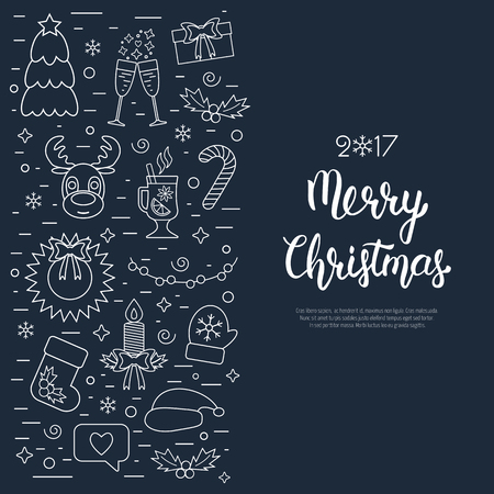 attributes: Christmas isolated concept, flyer, card with traditional attributes in line style with white hand lettering inscription. Handwritten modern brush lettering. Flat design from linear icons. Vector illustration