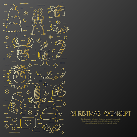 attributes: Christmas isolated concept, flyer, card with traditional attributes in line style. Flat design from golden linear icons. Vector illustration Illustration