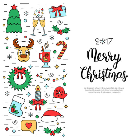 attributes: Christmas colored isolated concept, flyer, card with traditional attributes in line style with hand lettering inscription. Handwritten modern brush lettering. Flat design from linear icons. Vector illustration Illustration