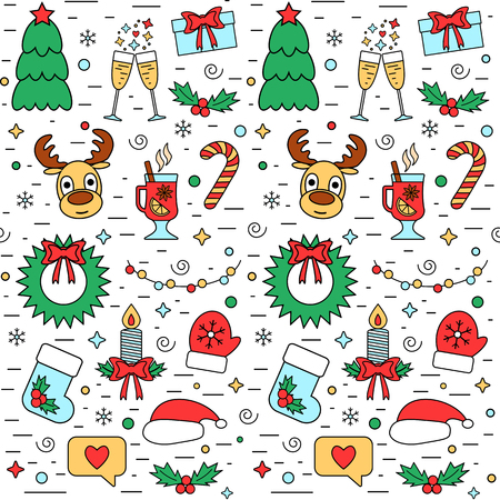 attributes: Colorful Christmas and New Year holiday seamless pattern with traditional attributes in line style. Vector illustration