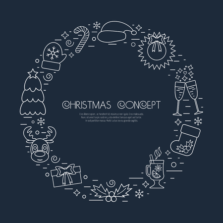 attributes: Christmas holidays circle frame with traditional attributes in line style with white icons. Vector illustration