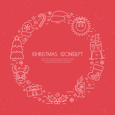 attributes: Christmas holidays circle frame with traditional attributes in line style with white icons over red background. Vector illustration