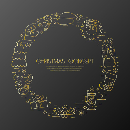 attributes: Christmas holidays circle frame with traditional attributes in line style with golden icons. Vector illustration