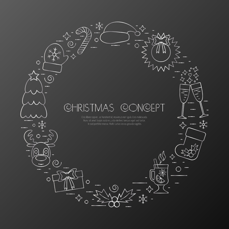 attributes: Christmas holidays circle frame with traditional attributes in line style with silver icons. Vector illustration Illustration
