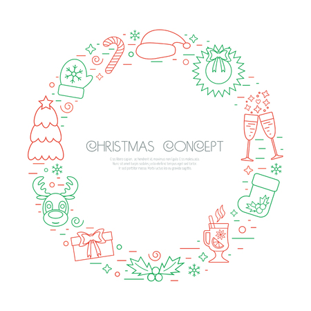 attributes: Colored Christmas holidays circle frame with traditional attributes in line style. Vector illustration