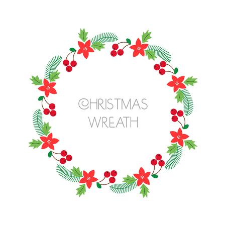 Christmas wreath with rowanberry,fir branches, poinsettia. Round frame for Christmas cards, invitations, print and winter design.  illustration