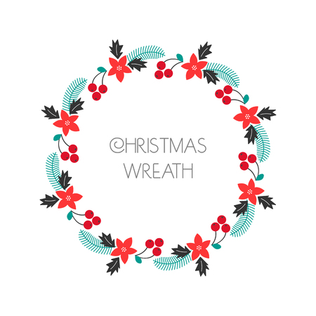 Season greeting wreath with rowanberry,fir branches, poinsettia. Round frame for Christmas cards, invitations, print and winter design. illustration