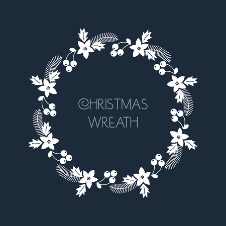 Christmas greeting wreath with rowanberry,fir branches, poinsettia. Round frame for Christmas cards, invitations, print and winter design. illustration Vettoriali