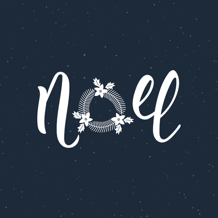 Noel handlettering modern inscription. Lettering Noel text with Christmas wreath. Holiday design, art print for posters, greeting cards design.  illustration Vettoriali