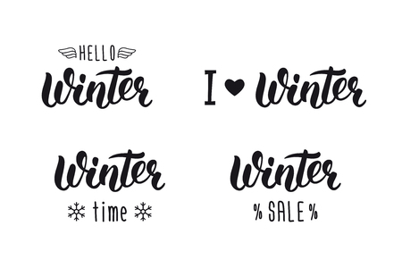 Winter handlettering set. Winter logos and emblems for invitation, greeting card, t-shirt, prints and posters. Hand drawn winter inspiration phrase.  illustration