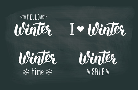 Winter handlettering set. Winter logos and emblems for invitation, greeting card, t-shirt, prints and posters. Hand drawn winter inspiration phrase. illustration Vettoriali