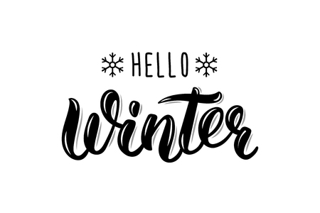 Hello Winter handlettering inscription. Winter logos and emblems for invitation, greeting card, t-shirt, prints and posters. Hand drawn winter inspiration phrase.  illustration Vettoriali