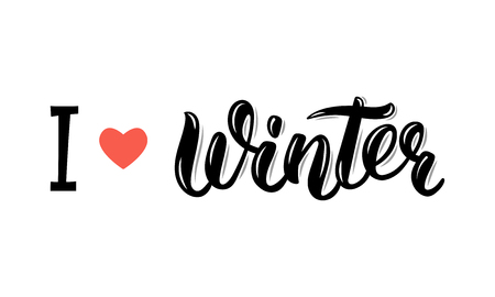 I love Winter. Trendy hand lettering quote, fashion graphics, art print for posters and greeting cards design. Calligraphic isolated quote in black ink.  illustration