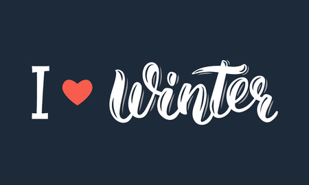 I love Winter. Trendy hand lettering quote, fashion graphics, art print for posters and greeting cards design. Calligraphic isolated quote in white ink.  illustration