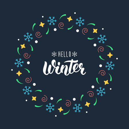 Hello Winter. Trendy handdrawn quote with festive round frame for Christmas cards, invitations, print and winter design.  illustration Vettoriali