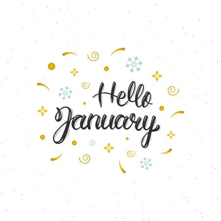 Hello January hand written modern brush lettering inscription. Trendy hand lettering quote, art print for posters , greeting cards design and t-shirt. illustration