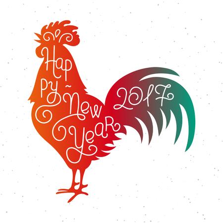 Año Nuevo 2017. Silueta letras feliz mano. símbolo calendario chino 2017 año. Gallo rojo, gallo. el diseño de fiesta, impresión del arte de los carteles, tarjetas de felicitación de diseño. ilustración