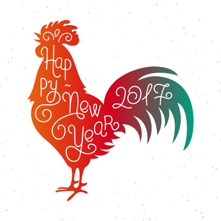 Happy New Year 2017. Silhouette hand lettering. Chinese calendar symbol of 2017 year. Red rooster, cock. Holiday design, art print for posters, greeting cards design. illustration
