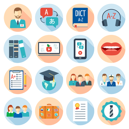 pronunciation: Icons set for foreign language courses and schools. Flat design. Vector illustration Illustration