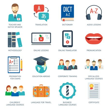 Pictogram and icons set for foreign language courses and schools. Flat design. Vector illustration