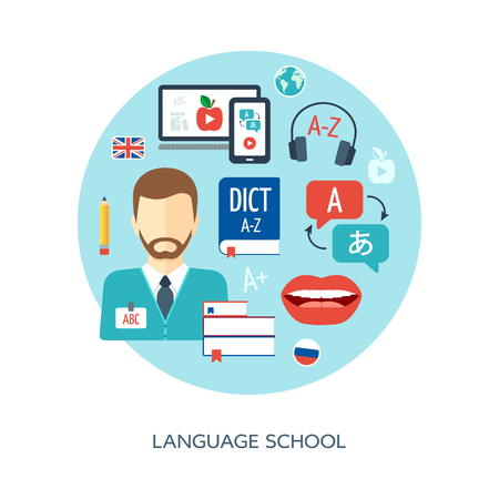 Foreign language learning concept. Banner, background, poster, concept. Foreign language school and courses. Flat design. Vector illustration Vettoriali