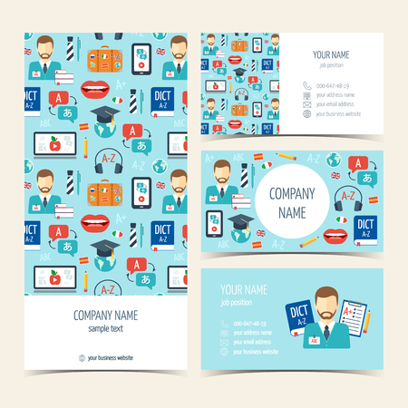 promotional products: Flyer, brochure and business cards for foreign language courses and schools. Set of promotional products. Flat design. Vector illustration
