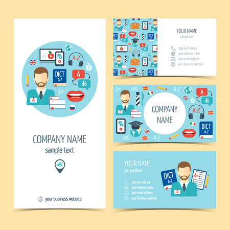 promotional products: Flyer, brochure and business cards for foreign language learning. Set of promotional products. Flat design. Vector illustration