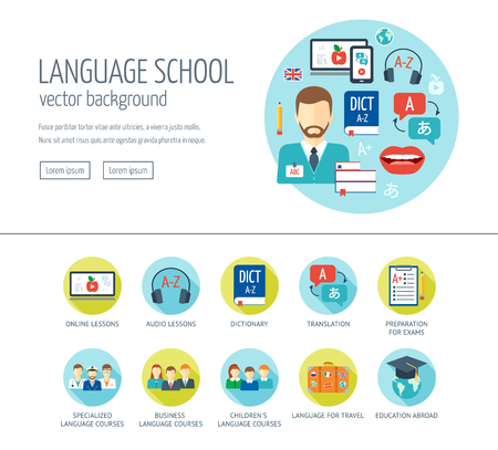 Foreign language learning web design concept for website and landing page. Foreign language school and courses. Flat design. Vector illustration